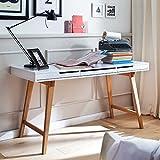 Pharao24 Konsolen Schreibtisch in Weiß Buche 140 cm breit