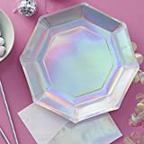 Ginger Ray Iridescent Rainbow Unicorn Holographic Paper Party Plates x 8 - Iridescent Party