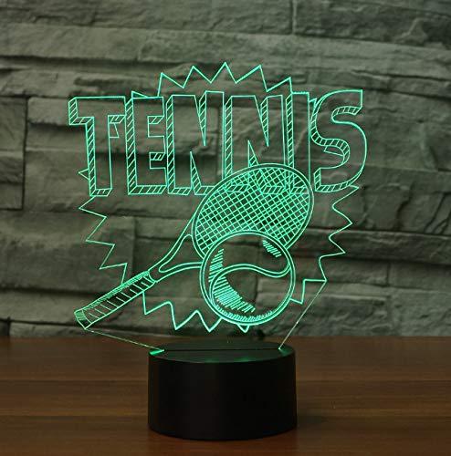 Nachtlicht Tennis Led Nachtlichter 7 Farben Ändern 3D Sport Tischlampe Für Kinder Geschenke Schlafzimmer Nacht Schlaf Leuchten Decor -