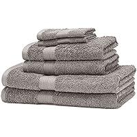AmazonBasics - Set di 2 asciugamani da bagno,2 asciugamani per le mani e 2 asciguamani da bidet che non sbiadiscono, colore Grigio