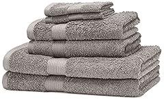 Idea Regalo - AmazonBasics Set di 2 asciugamani da bagno,2 asciugamani per le mani e 2 asciguamani da bidet che non sbiadiscono, colore Grigio