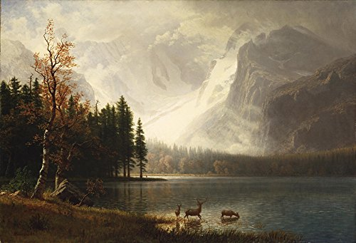 Albert Bierstadt–Estes Park Colorado whytes Lake Vintage Fine Art Print, Up to 594mm by 841mm or 23.4