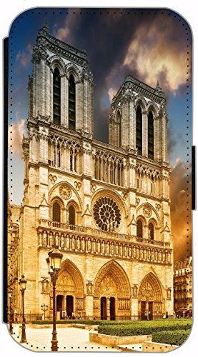 Flip Cover Schutz Hülle Handy Tasche Etui Case für (Apple iPhone 5 / 5s, 615 lustiger Hase) 618 Notre Dame Paris Frankreich Blau Gelb