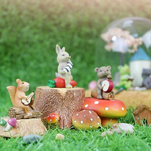 shunlidas Wohnaccessoires Kunstblumen Kunst Schmuck Kreative Ornamente Mini Eichhörnchen Igel Wald Tier Orchester Einrichtung Fleisch Und Fleisch Dekorationen, Mini Akkordeon Hase