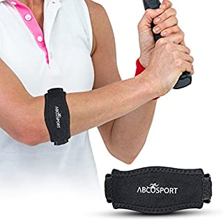Abco Tech Elbow Strap – Pain Relief for Tendonitis & Forearm with Compression Pad - Ideal for Tennis, Golfer's, Hyper Extension, Fishing, Weightlifting, Badminton, etc. - Adjustable Straps in 2 Sizes