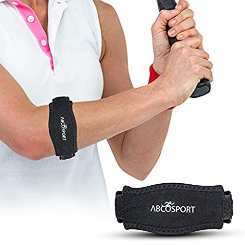 Elbow Strap – Pain Relief for Tendonitis & Forearm with Compression Pad - Ideal for Tennis, Golfer's, Hyper Extension, Fishing, Weightlifting, Badminton, etc. - Adjustable Velcro Straps in 2 Sizes