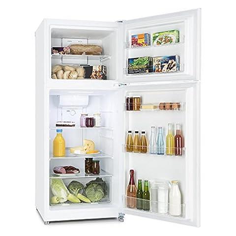 Klarstein Big Brother • Kühl- und Gefrierkombination • 281 Liter Kühlschrank • 90 Liter Gefrierfach • 3 große Ablagen • Gemüsefach • 2 Türablagen • Temperatureinstellung im Kühlraum • Blitzkühl-Funktion • riesiges Platzangebot • weiß