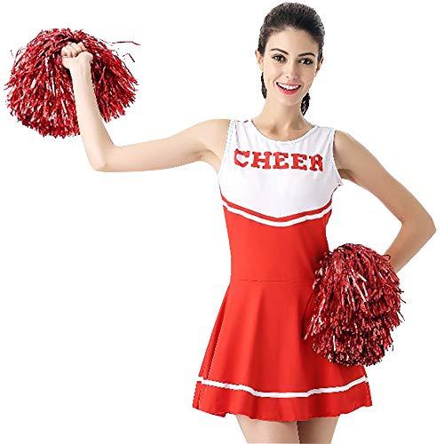 CLOTHES Ärmellose Damen-Cheerleader-Uniform, Cosplay Erwachsene Dame sexy Baby Cheerleader Kostüm, Dress Bar ds Tanzkostüm, Geeignet für Halloween/Tanzwettbewerb (Red Panda Baby Kostüm)