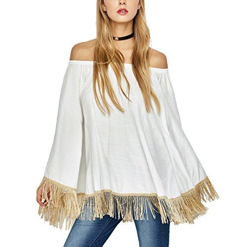 Leezeshaw Damen Bluse Weiß