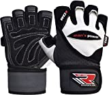 RDX Men s Weight Lifting Leather Gym Gloves Cross Training Bodybuilding Fitness Workout White Medium