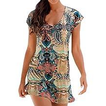 Cinnamou Vestido de la playa del vestido con Boho estampada vestido verano mujer Fiesta niñas Casual