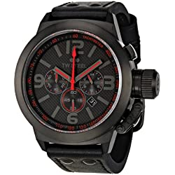 TW Steel Unisex Quartz Watch with Black Dial Chronograph Display and Black Leather Strap TW902