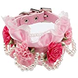 FONPOO Multiple Designs Easter Spring Handmade pearl lace Flowers Collar with Adjustable Safety For Puppy Pet Dog Cat Collars