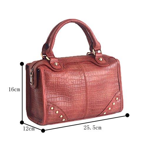 Genda 2Archer Borsa a Tracolla di Cuoio Genuina Delle Donne Classiche Borsa Elegante Tote (25.5 cm* 12cm * 16cm) Rosso