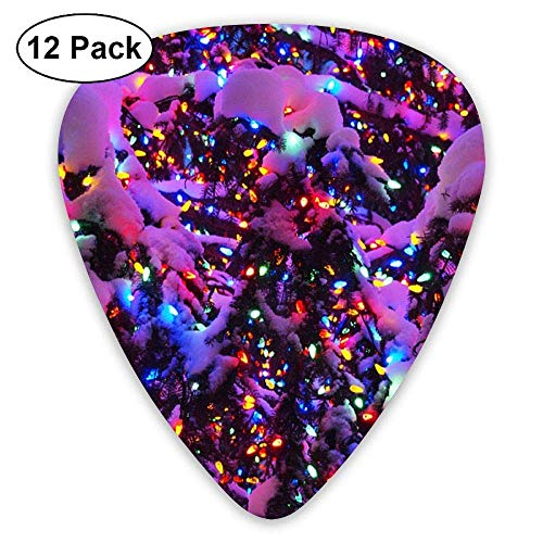 Decorative Lights On Snow-Covered Fir Tree Guitar Picks Electric Guitar 12 Pack -