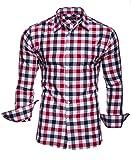 KAYHAN Herren Hemd Slim Fit Bügelleicht, Super Modern super Qualität Kariert Doppelfarbig auch fürs Oktoberfest geeignet