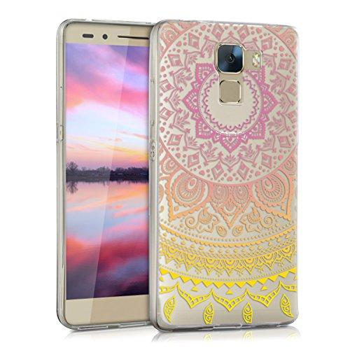 kwmobile Huawei Honor 7 / Honor 7 Premium Hülle - Handyhülle für Huawei Honor 7 / Honor 7 Premium - Handy Case in Gelb Pink Transparent