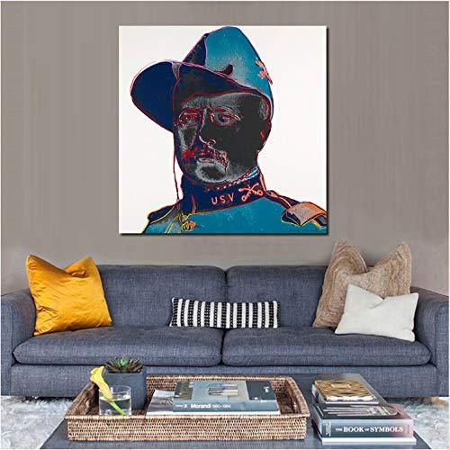 haoxinbaihuo Teddy Roosevelt Ölgemälde Wandmalerei Bild Gemälde Auf Leinwand Wohnzimmer Moderne Kein Rahmen 20 * 20 Zoll (Teddy Roosevelt, Kinder)