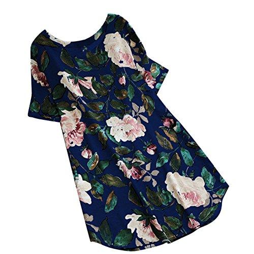 VJGOAL Damen Bluse, Frauen Shirt Mode Trend Lose V-Ausschnitt Halbe Hülse Weinlese Blumendruck Tops Bluse(Lang-Blau,40)