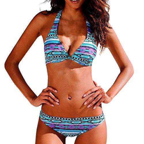 NPRADLA Frauen Bikini Set Sommerurlaub Geometrische Muster Print Badeanzug Schwimmen Zweiteilige Badeanzüge Frau Verband Bademode Strandkleidung