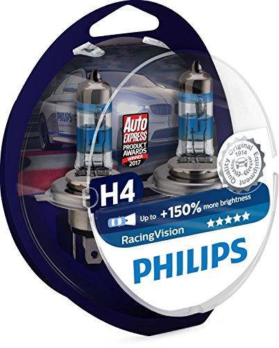 Philips RacingVision Lampadina Fari Auto, Tipo H4, temperatura di colore: 3500 K, 2 Pezz