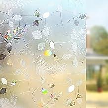 Rabbitgoo Vinilos para Ventanas Vinilos Translúcidos para Ventanas Láminas para Ventanas Electrostáticos 3D No Pegamento Patrón de Hojas Redondas Vinilos Decorativos para Puertas de Cristal Cocina Muebles de Cristal 90cm*200cm