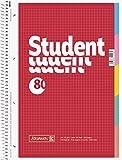 Brunnen Notizblock Collegeblock Student, Spiralbindung, 5-fach Register, A4, 70 g/qm, 4-fach Lochung, 80 Blatt (5er Spar-Pack, kariert)