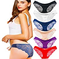 Kingfung 3-6 Pack Women's Invisible Seamless Bikini Underwear Half Back Coverage Panties (6Pack-C L)