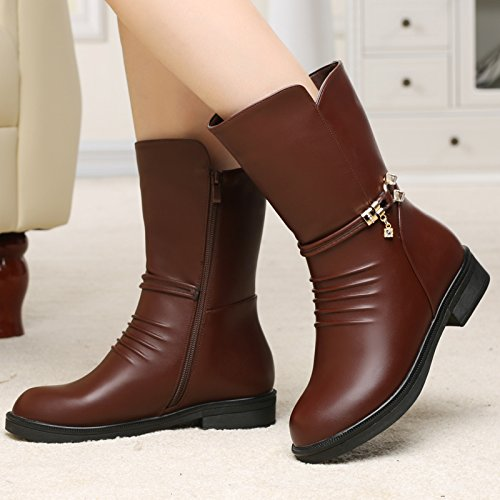 SQIAO-X- Mom stivali inverno Donna stivali in pelle per persone di mezza età e anziani panno di cotone privo di scarpe, stivali in pelle piatta con una base piatta e stivali. Nero