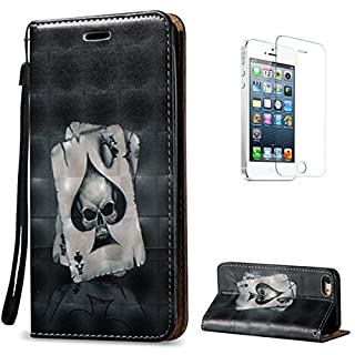 CaseHome For iPhone SE/5S/5 Case,Premium Synthetic PU Leather Wallet Deisgn Book Style Folio Flip Shockproof Full Body Protective Case Cover Skin Shell for Apple iPhone SE/5S/5-Ace of Spades