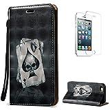 CaseHome Compatible for Apple iPhone SE/5S/5 Case Faux Cuir Coque PU Cuir Folio Flip...