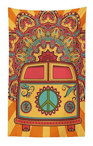 ABAKUHAUS Fiesta 70s Tapiz de Pared y Cubrecama Suave, Hippie Vintage