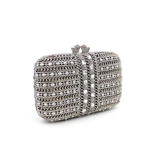 Abendbeutel der europäischen und amerikanischen Stil aristokratischen Tasche Handtasche Messenger Bag Black-Box-Silber Silver