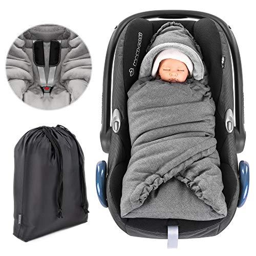 Zamboo Einschlagdecke für Babyschale (passend für Maxi Cosi, Cybex, Kiddy) und Kinderwagen - praktische Alternative zum Winter- Fußsack, weiches und wattiertes Thermo Fleece - Grau
