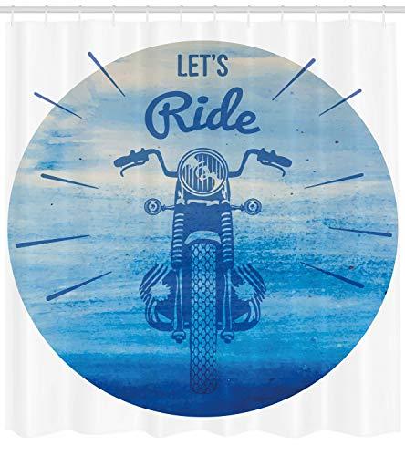 ABAKUHAUS Disegnato A Mano Tenda da Doccia, Moto d'Epoca, Repellente AcquaBatteri, 175 x 220 cm, Cielo Blu E Blu Scuro