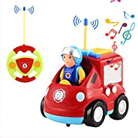 OCDAY Remote Control Car Toy Cartoon Engineering Vehicle with Lights and Sound for Kids Toddlers