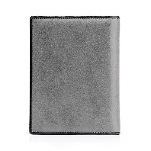 Teemzone Herrengeldbörsen Geldbörse Geldbeutel Handgelenktasche Portemonnaie Port für Herren Rindleder Q393 Elde Grau Hochformat