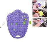 Spugna di silicone, Kobwa silicone Dish scrubber spazzola multiuso pulizia pagliette spugna da cucina frutta verdura rondella resistente al calore Mat/guanto per cucina bagno Purple