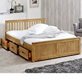Happy Beds Mission Wooden Solid Waxed Pine Storage Bed Drawers Furniture Frame 4'6'' Double 135 x 190 cm