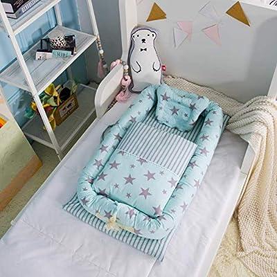 Baby Nido, T-MIX 100% Algodón Orgánico/Lavable - Recién Nacido 0-24 Meses Saco de Dormir de Seguridad - 3 Piezas Set [Almohada/Edredón/Cama Pequeña]
