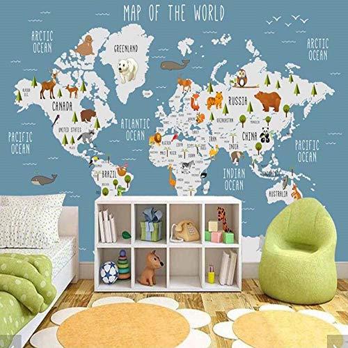 Worryd HD-Druckplakat-Bild 3D Karton Tier Weltkarte Tapete Wandbild für Kinderzimmer Kinder Schlafzimmer Vintage Tapeten Wohnkultur Tapeten Wohnkultur, d