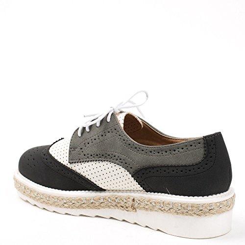 Ideal Shoes, Black Chaussures À Lacets Pour Femmes