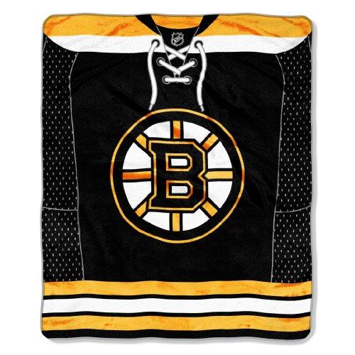 NHL Raschel-Überwurf, Jersey-Plüsch, 127 x 152 cm, Damen Unisex-Erwachsene Herren, schwarz, 50x60-Inch