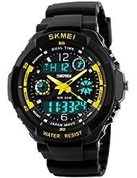 Reloj doble / deportes al aire libre de los hombres / forma electrónica impermeable de la montaña / reloj multi-funcional del salto de la personalidad , large yellow