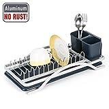 Tatkraft Sky Rostfreies Geschirrkorb mit Abtropfgitter Abtropfgestell aus Aluminium für die Küchenspüle und Besteckhalter 43X20XH12.5 cm