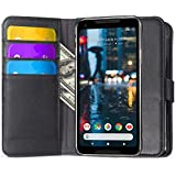 Google Pixel 2 XL Case, Ferlinso Elegant Genuine Real Leather with [SCREEN PROTECTOR]ID Gredit Card Slots Holder Flip Cover Stand Magnetic Closure Case for Google Pixel 2 XL (Black)