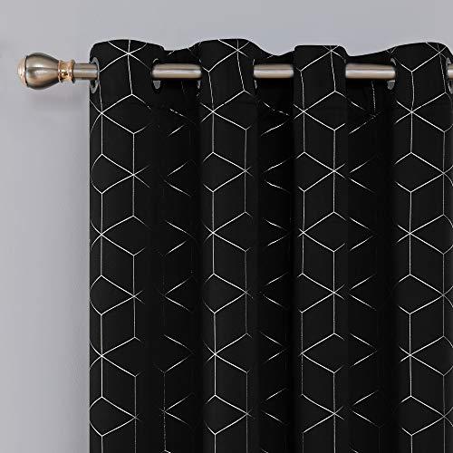Deconovo Verdunklungsgardinen Ösen Vorhänge Muster Vorhang Wohnzimmer 229x168 cm Schwarz 2er Set