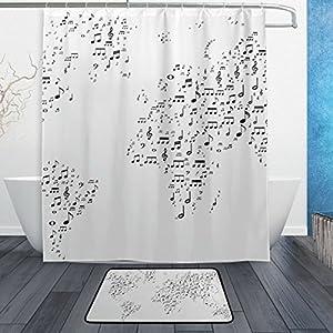 jstel mapa del mundo blanco y negro de notas musicales juego de baño de, se puede lavar a máquina. Para uso diario, incluye 60x 72inch impermeable cortina de ducha, 12ganchos de ducha y 1antideslizante baño alfombra