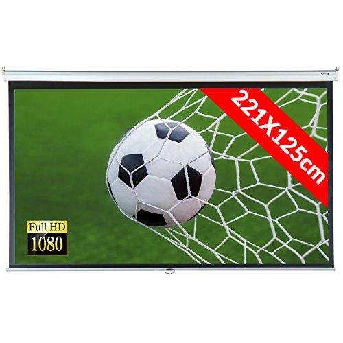 Jago Beamer Leinwand (Größenwahl) Heimkino 221x125cm (254cm Bilddiagonale / 100Zoll) HDTV/3D...