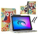Case Cover für Wortmann AG Terra PAD 1003 Tablet Schutzhülle Etui mit Touch Pen & Standfunktion - 10.1 Zoll Eulen mit Blumen 360